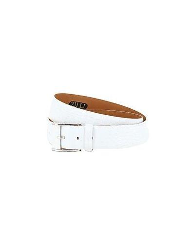 Белый кожаный ремень Zilli