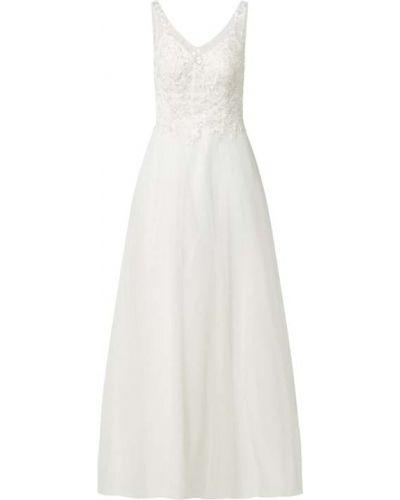 Biała sukienka rozkloszowana bez rękawów Mascara