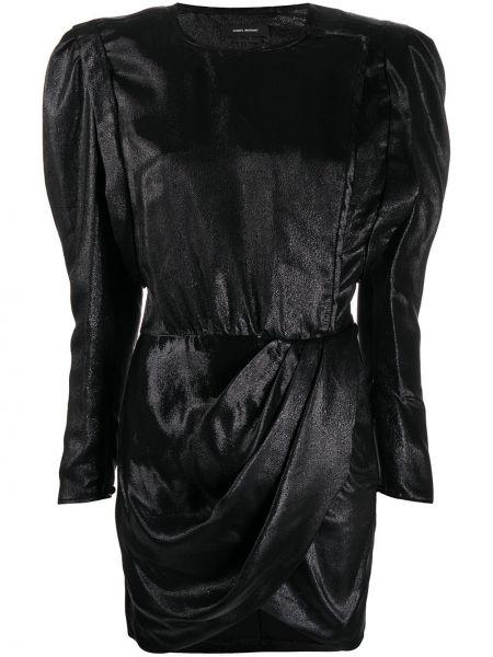 Jedwab czarny asymetryczny sukienka mini z draperią Isabel Marant