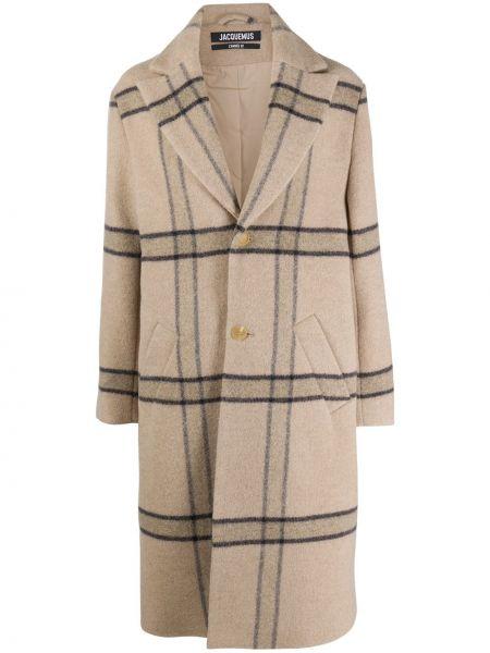 Beżowy płaszcz wełniany z długimi rękawami Jacquemus