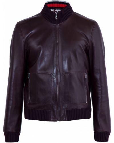 Кожаная куртка с воротником-стойкой на молнии Gucci