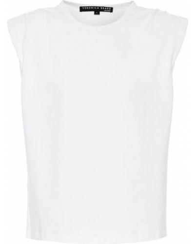 Ватная хлопковая белая рубашка стрейч Veronica Beard