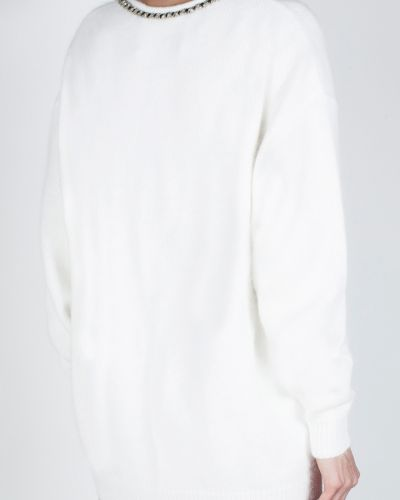 Белый джемпер с вырезом оверсайз Jay Ahr