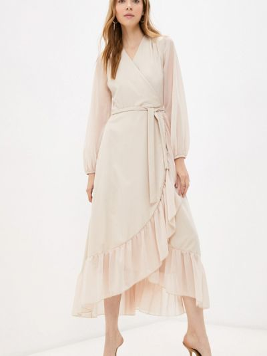 Бежевое платье на запах Goldrai