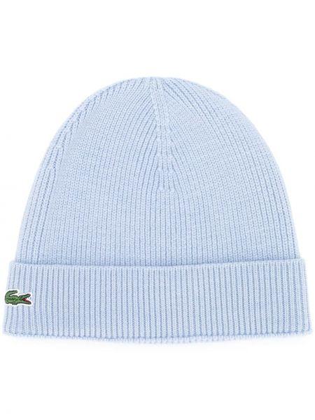 Niebieski czapka beanie wełniany z haftem Lacoste