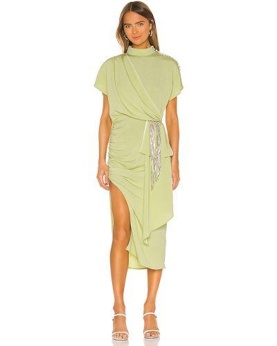 Zielona sukienka z falbanami w grochy Marianna Senchina