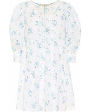 Платье мини с цветочным принтом синее Loveshackfancy