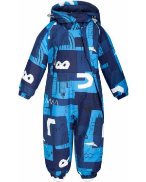 Повседневный синий зимний комбинезон на молнии с карманами Crockid