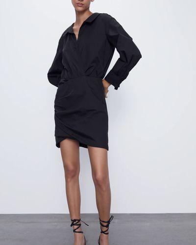 Платье мини с длинными рукавами - черное Zara