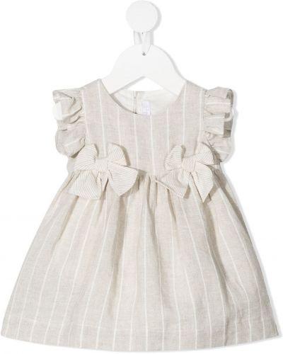 Льняное бежевое платье с короткими рукавами Il Gufo