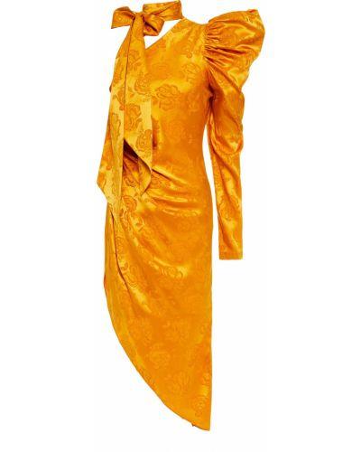 Асимметричное шелковое платье мини с драпировкой Ronny Kobo