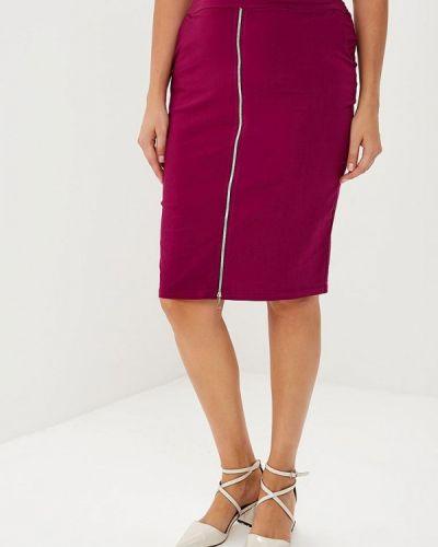 Фиолетовая юбка карандаш с рукавом 3/4 Sparada