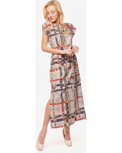 Серое свободное платье макси свободного кроя Modniy Oazis