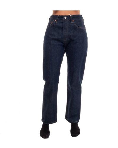 Niebieskie jeansy skorzane zapinane na guziki Levi's