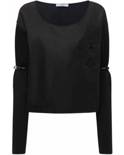 Хлопковая с рукавами рубашка с карманами Prada