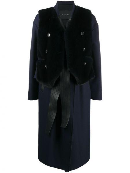 Синее шерстяное длинное пальто с лацканами Blancha