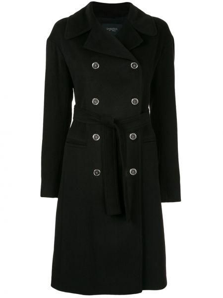 Черное кашемировое пальто классическое с капюшоном Giambattista Valli