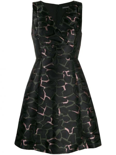 Платье с V-образным вырезом - черное Ea7 Emporio Armani