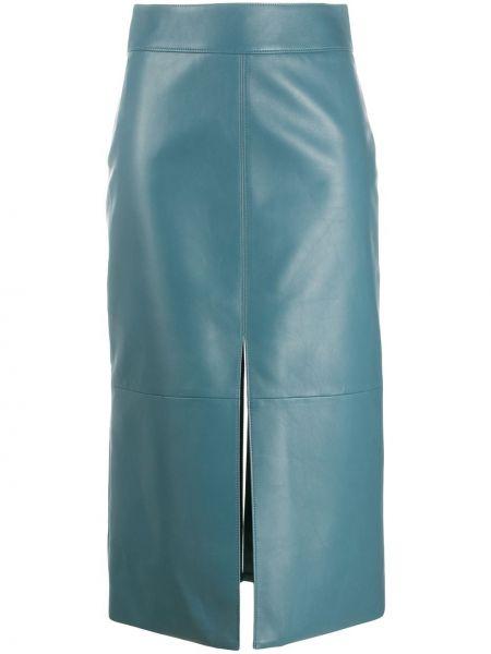 Niebieska spódnica ołówkowa skórzana z wysokim stanem Givenchy