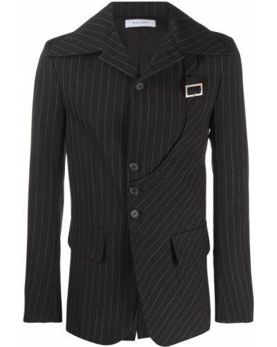 Черный удлиненный пиджак в полоску с карманами Delada