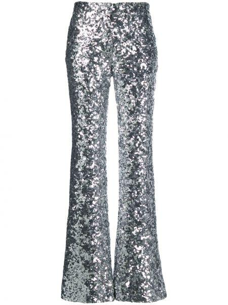 Spodnie z haftem srebrne rozkloszowane Halpern