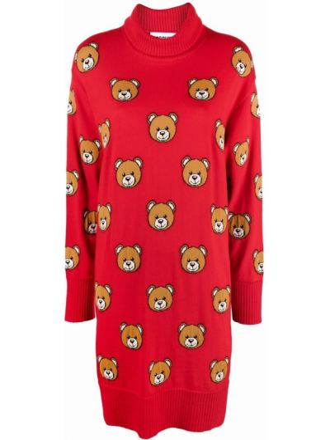 Красное трикотажное платье макси Moschino