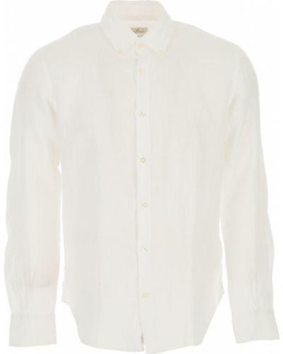 Biała koszula slim z długimi rękawami zapinane na guziki Brooksfield