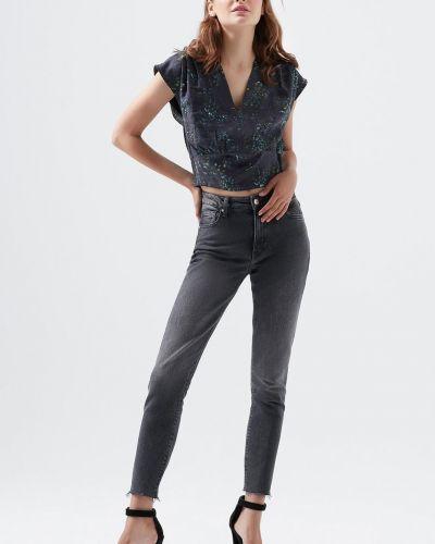 С завышенной талией прямые серые джинсы Mavi