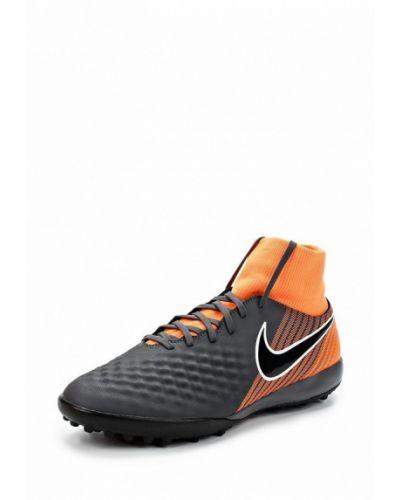 Серые кожаные бутсы-многошиповки Nike