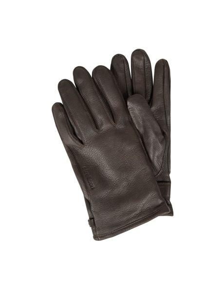 Brązowy skórzany rękawiczki prążkowany Strellson