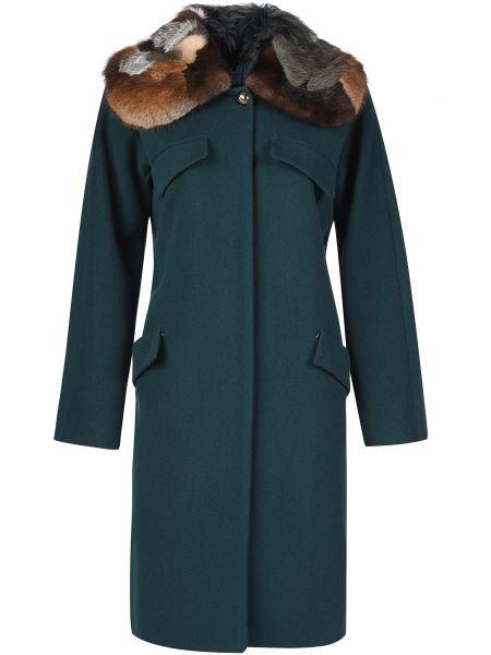 Шерстяное пальто с капюшоном Blumarine