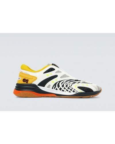 Biały włókienniczy sneakersy do biegania z siatką do biegania Gucci