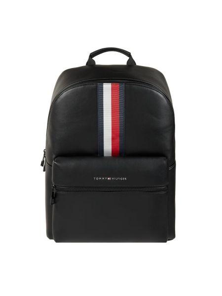 Czarny plecak na laptopa w paski Tommy Hilfiger