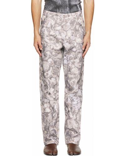 Białe jeansy z paskiem srebrne Serapis
