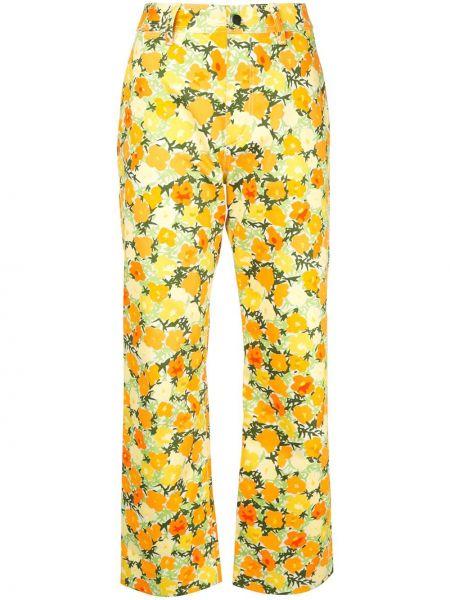 Оранжевые хлопковые прямые джинсы с карманами на пуговицах Simon Miller