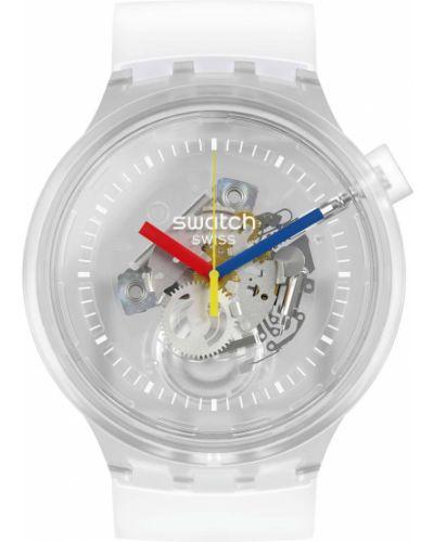 Серые силиконовые часы водонепроницаемые прозрачные Swatch