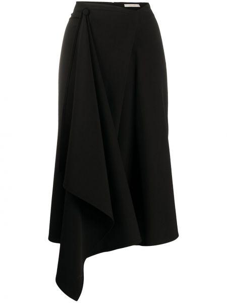 С завышенной талией черная юбка миди с разрезом Ssheena