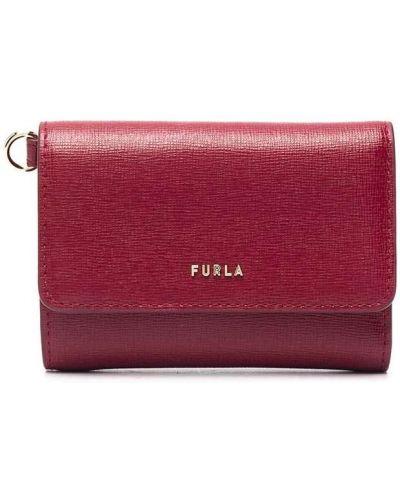 Красный кожаный кошелек с тиснением Furla