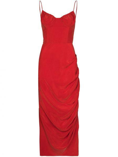Красное платье с оборками Aleksandre Akhalkatsishvili