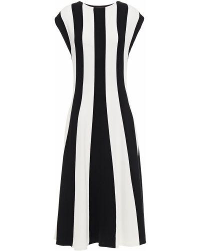 Шелковое белое платье миди в полоску Oscar De La Renta