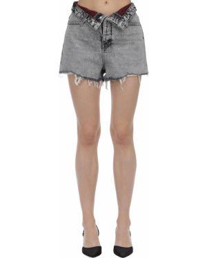 Джинсовые шорты с завышенной талией в складку Alexander Wang