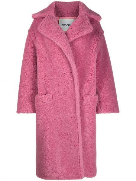Розовое шерстяное длинное пальто оверсайз Ava Adore