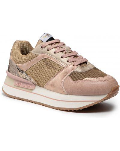 Złote buty sportowe - różowe Pepe Jeans