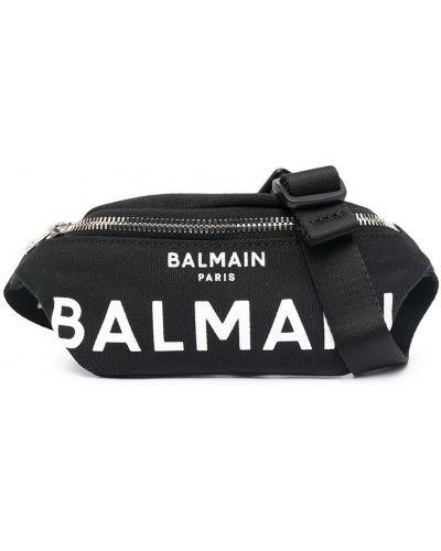 Хлопковый черный ремень с поясом Balmain Kids