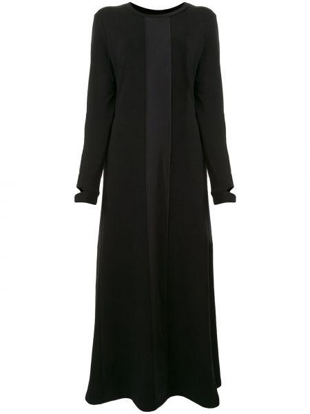 Черное расклешенное платье миди с вырезом круглое Taylor