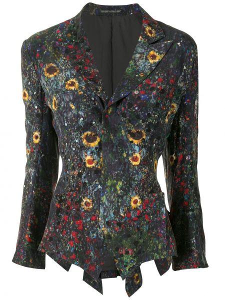 Шелковый черный удлиненный пиджак на пуговицах с лацканами Yohji Yamamoto