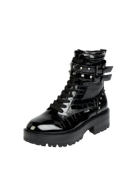 Lakierowane czarny buty na pięcie z zamkiem błyskawicznym na pięcie Guess