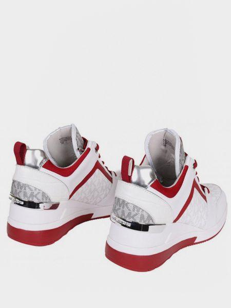 Кожаные белые кроссовки на платформе Michael Kors