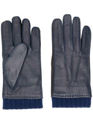 Kaszmir niebieski rękawiczki z mankietami wytłoczony Paul Smith