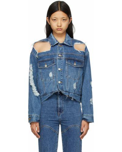 Синяя длинная куртка Sjyp
